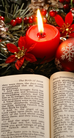 soul searching: Open Bible and Christmas decorations