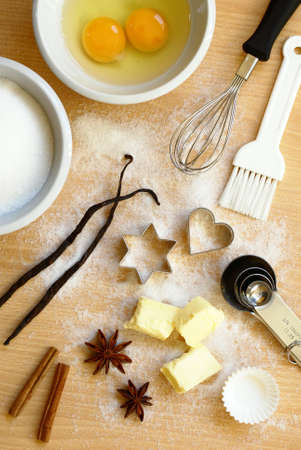 Baking utensils, spices and food ingredients. photo
