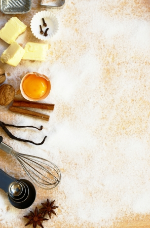 Baking utensils, spices and food ingredients with copy space. Stock Photo