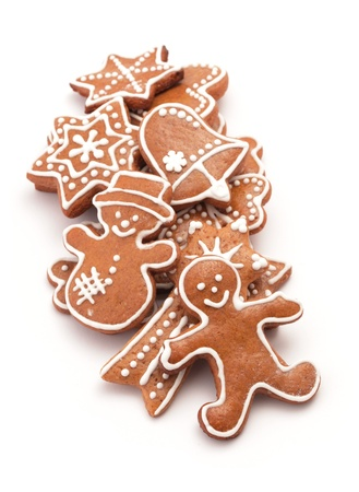 Gingerbread cookies on white background. photo