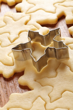 cookie cutter: Pastry for Christmas cookies and cookie cutter.