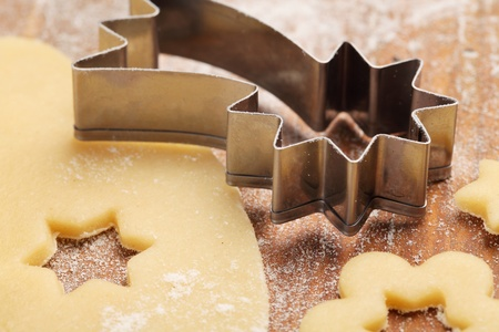 Pastry for Christmas cookies and cookie cutter. photo