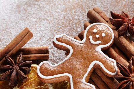 Christmas gingerbread man and spices. Stock Photo - 20917747