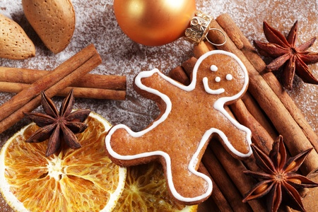 Christmas gingerbread man and spices. photo