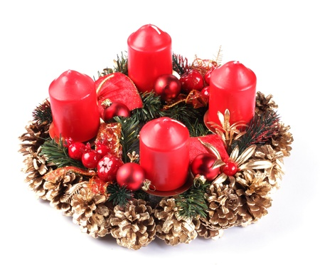 advent wreath: Advent wreath on white background. Stock Photo