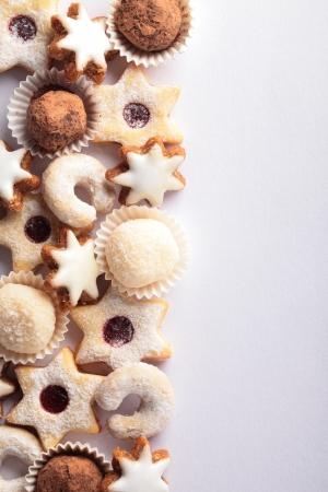 galletas de navidad: Las fronteras de Navidad galletas y espacio de la copia. Foto de archivo
