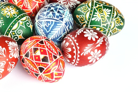 Close-up of Easter eggs on white background.