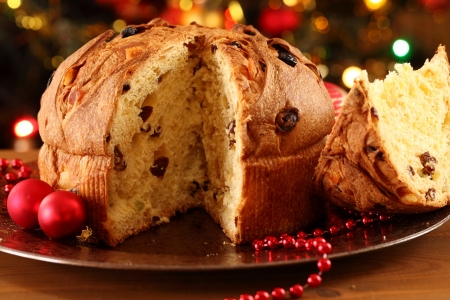 Christmas cake panettone and Christmas decorations. Stock Photo - 20917853