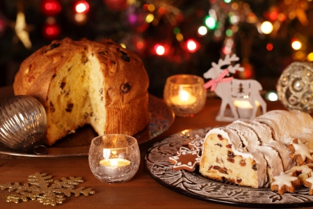 christmas cake: Christmas stollen, panettone, cookies and decorations.