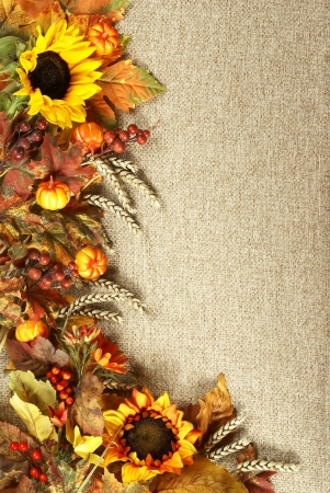 Sunflower, autumn leaves and fruits on burlap background photo