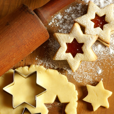 cookie cutter: Dough and star shape cookies Stock Photo