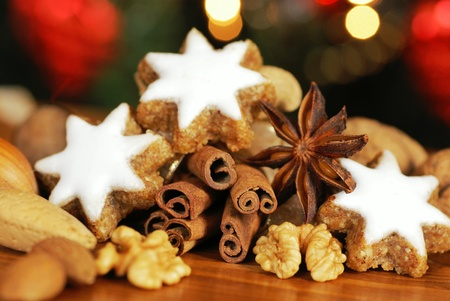 Christmas cookies, spices and nuts Stock Photo - 21047464