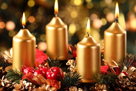 Advent wreath with four candles lit Stock Photo