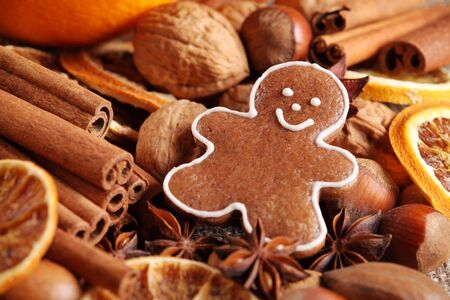 gingerbread cookie: Close-up of gingerbread cookie, spices and nuts Stock Photo