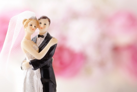 Figurines of wedding cake topper with flowers in background 免版税图像