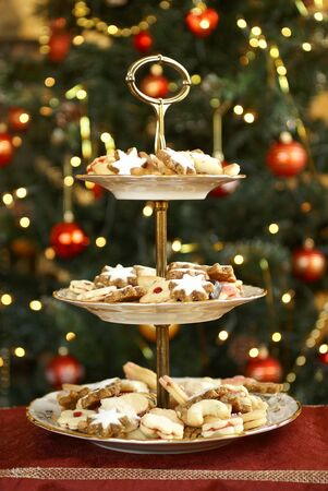 dessert stand: Christmas cookies on holiday plates
