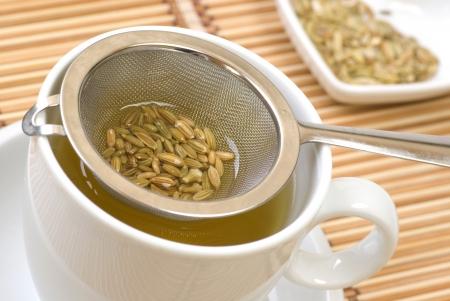 Fenchel-Tee und Samen in einem Sieb Standard-Bild - 21730804
