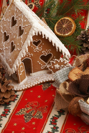 Gingerbread house and Christmas decorations photo