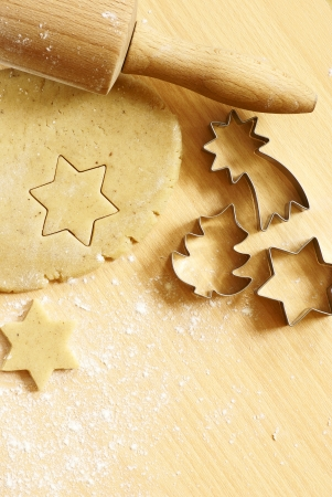 Dough for gingerbread cookies and baking accessories photo