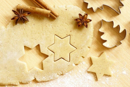 dough: Dough for gingerbread cookies and baking accessories Stock Photo