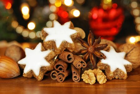 Christmas cookies, spiceas and nuts Stock Photo - 21994975