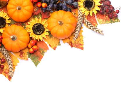 Pumpkins and coloful autumn decorations on white background. Banque d'images