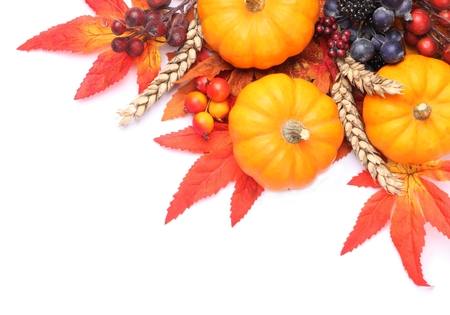 Pumpkins and coloful autumn decorations on white background. Stock Photo