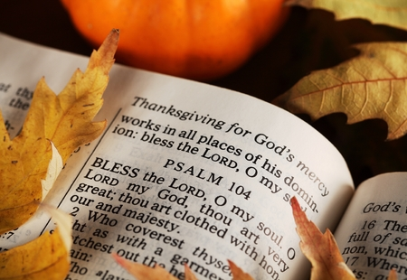 Open Bible and autumn leaves.