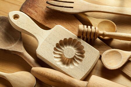 Close-up of wooden kitchen utensils Stock Photo - 22851473