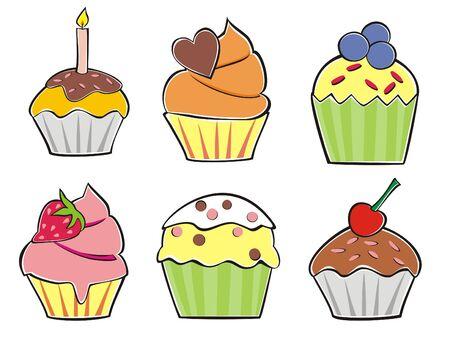 fruitcakes: Illustration of six various cupcakes Illustration
