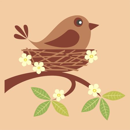 Cute bird sitting in a nest Vector
