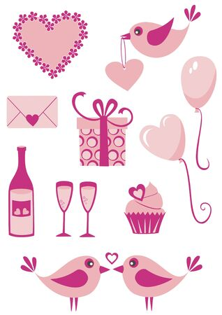 food and drink holiday: Vector set of Valentine s day icons Illustration
