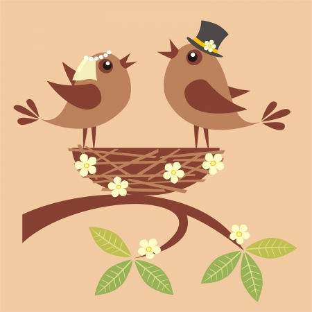 Birds bride and groom are singing about their love in a nest  Vector