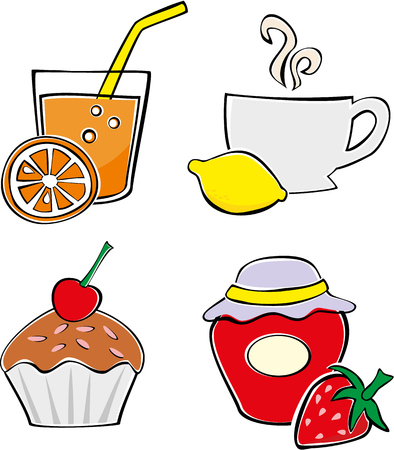 Set of simple food and drink illustrations Vector