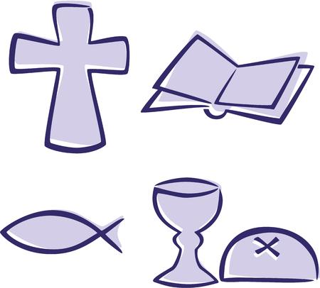 christian fish: Conjunto de s�mbolos cristianos sencillos Vectores