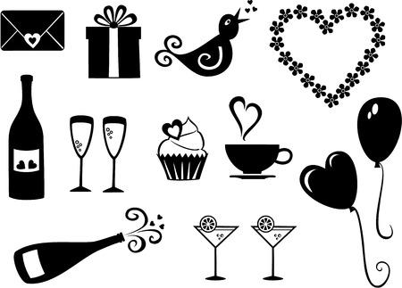 Vektor-Reihe von einfachen, Valentinstag Symbole