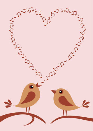 birdsong: Vector illustration of two cute birds singing about love.