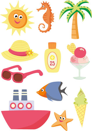 suntan lotion: Summer and vacation icons Illustration