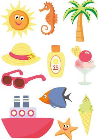 cartoon summer: Summer and vacation icons Illustration
