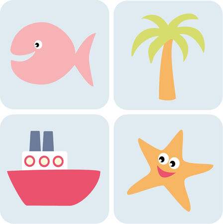 simple life: Set of simple sea life illustrations