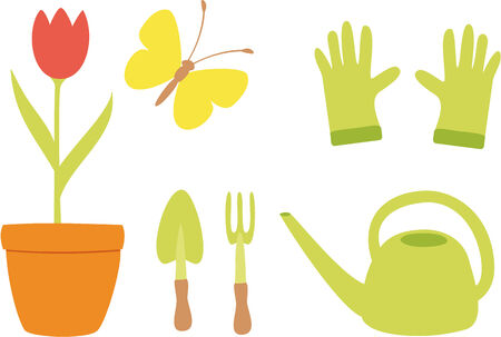 Vector illustration of simple icons of garden tools Vector