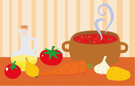 raw potato: Soup in pot and fresh vegetables and oil. Illustration