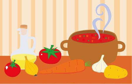 Suppe im Topf und frisches Gemüse und Öl. Standard-Bild - 25127613