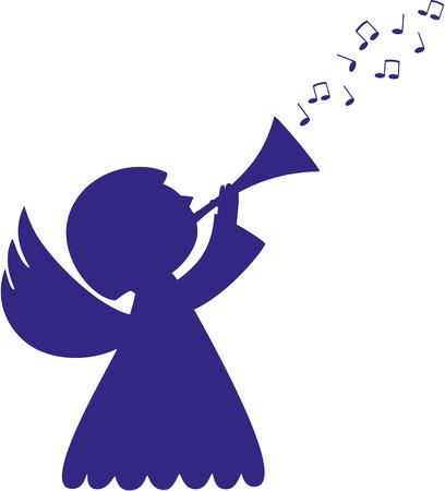 trompette: Mignon sillhoutte d'ange � la trompette et de musique notes Illustration