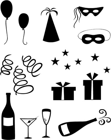 party streamers: Set of black celebration icons on white background
