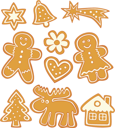 cute Christmas gingerbread cookies on white background. Vector