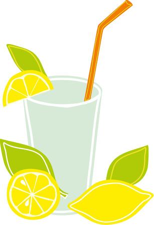food and drinks: Lemonade  in glass and lemons Illustration