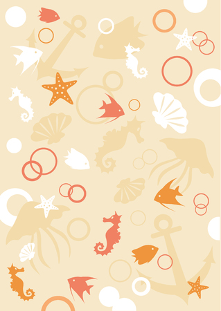 sea animals: Sea animals background, vector illustration Illustration