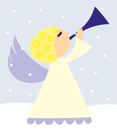 Cute vector angel with horn in snowy scenery Vector