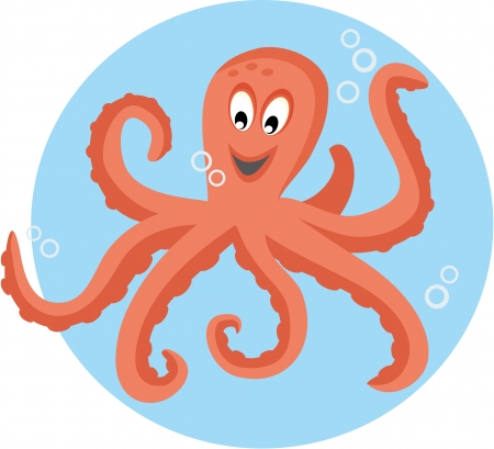 cartoon octopus: Cute octopus playing with bubbles